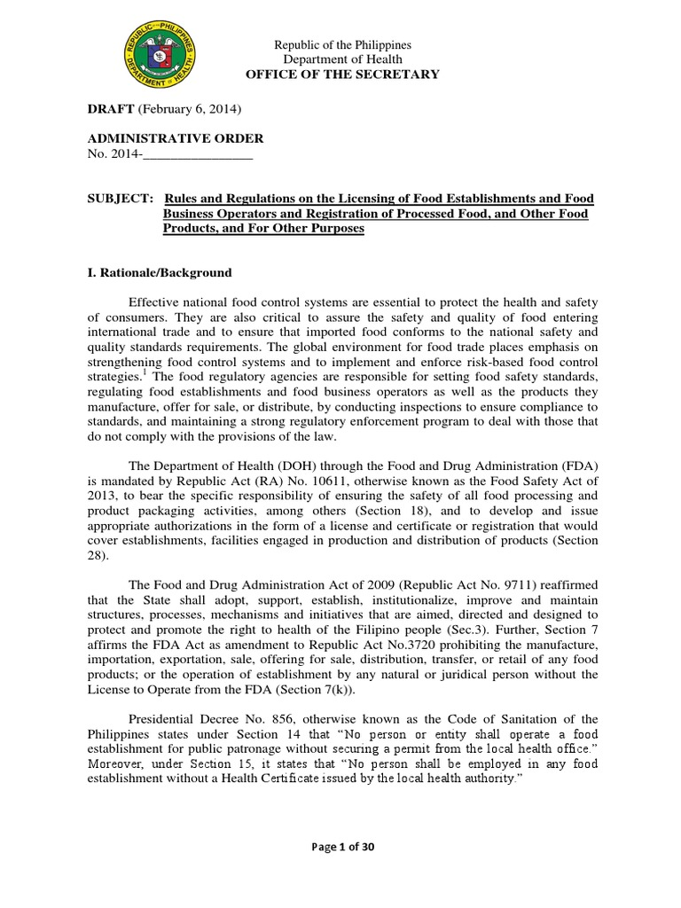Draft irr food safety act food safety foods mitanshu Choice Image