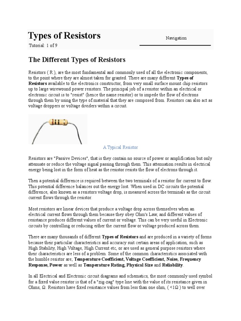 Types Of Resistorsdoc Chalez Series And Parallel Circuits Resistor How To Reduce Voltage With Resistors