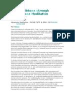Way to Nibbana Through Vipassana Meditation