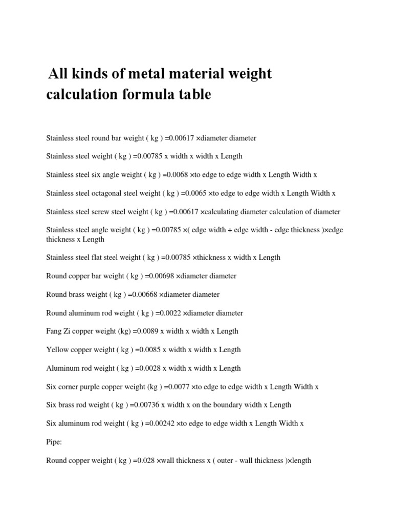 All kinds of metal l weight calculationpdf nvjuhfo Images