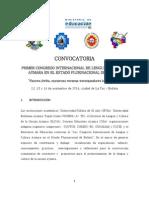CONVOCATORIA CONGRESO  LENGUA Y CULTURA AYMARA