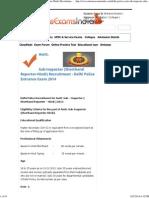 Delhi Police Asstt. Sub-Inspector (Shorthand Reporter-Hindi) Recruitment 2014 , Delhi Police Asstt. Sub-Inspector (Shorthand Re