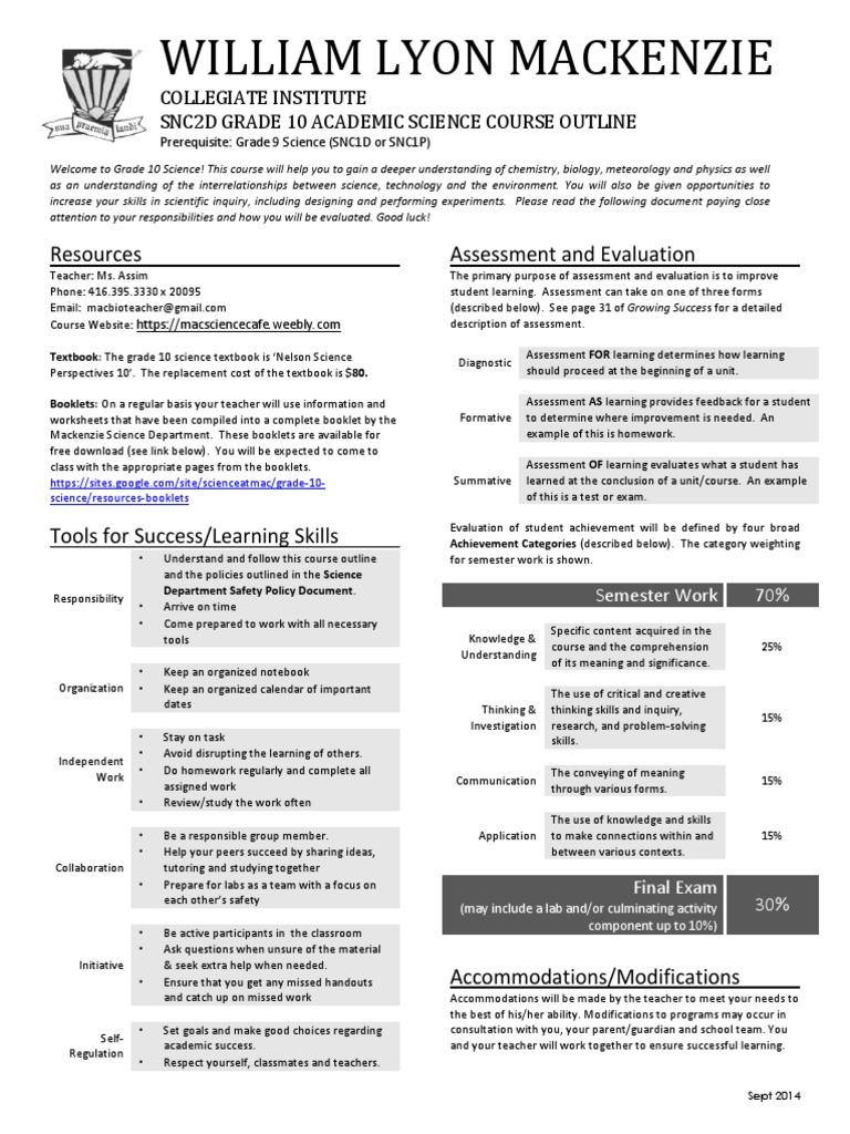 snc2d course outline - 2014 sept | Educational Assessment
