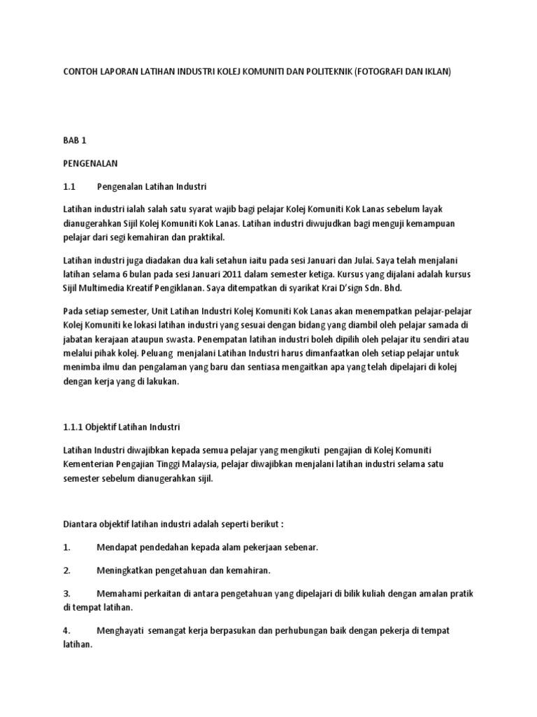 Contoh Laporan Harian Latihan Industri Kolej Komuniti