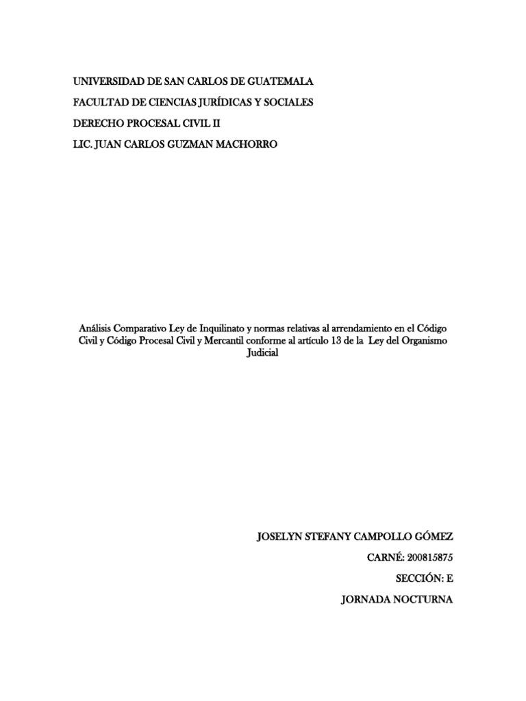 An U00e1lisis Comparativo Ley De Inquilinato Y Normas Relativas