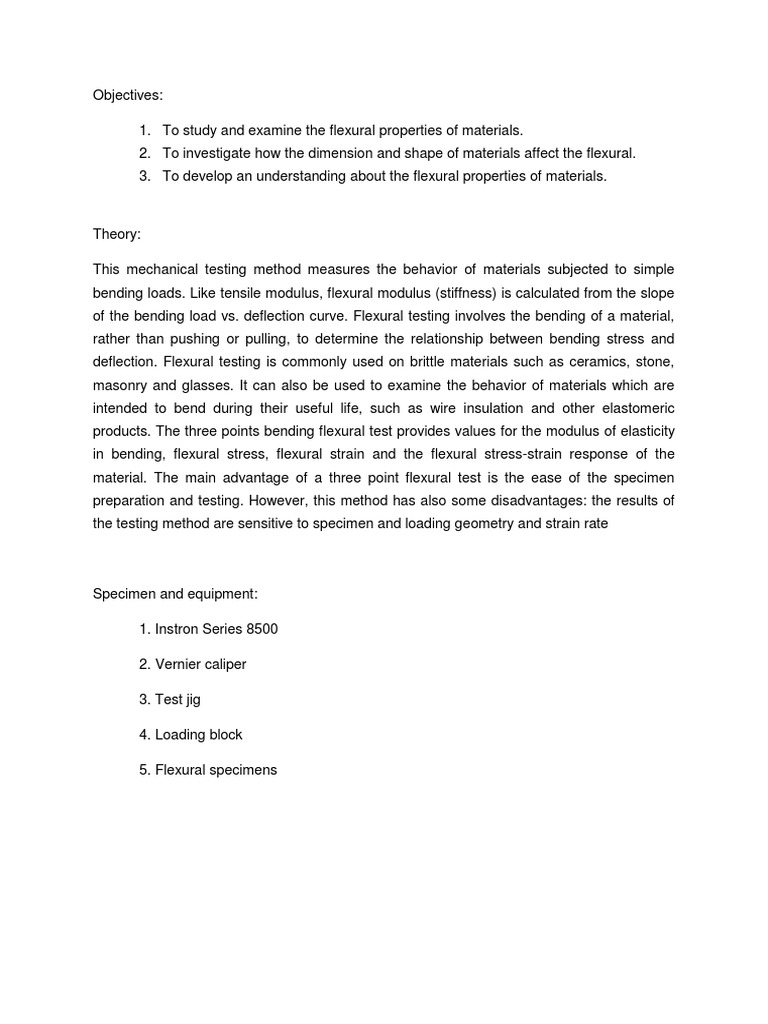 bending test lab report pdf thesis statement in descriptive essay thesis statement definition for middle school