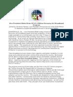 Vice President Biden Kicks Off $7.2 Billion Recovery Act Broadband Program - Press Release of 12-17-2009