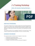 Proposal for Teachers Training Workshop