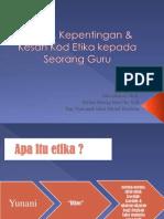 Tujuan, Kepentingan & Kesan Kod Etika Kepada