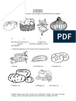 Worksheet 4th Gr.vegetables