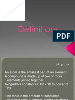 Definitions Chemistry
