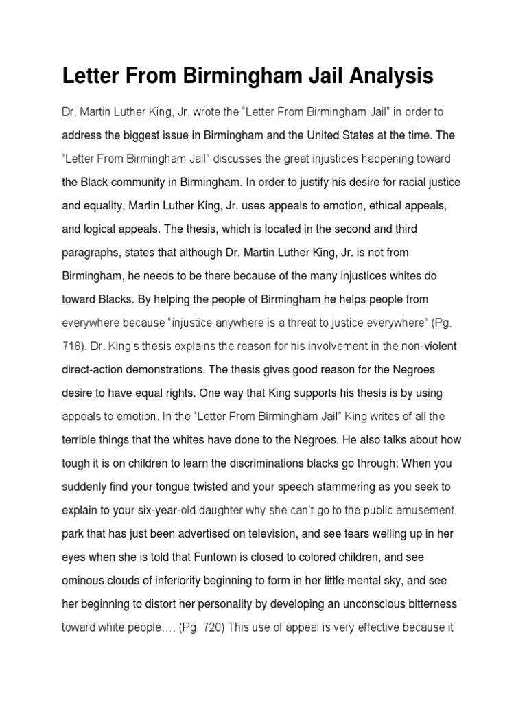 reasoning of letter from birmingham jail english literature essay Write a literary analysis martin luther king jr's letter from birmingham jail uses emotional and that you can both specify and justify your reasoning.