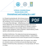News Release - Unemployed and Looking for a Job