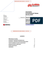 Griffith University Constitutional Values Survey Oct 2014 Results 1 1