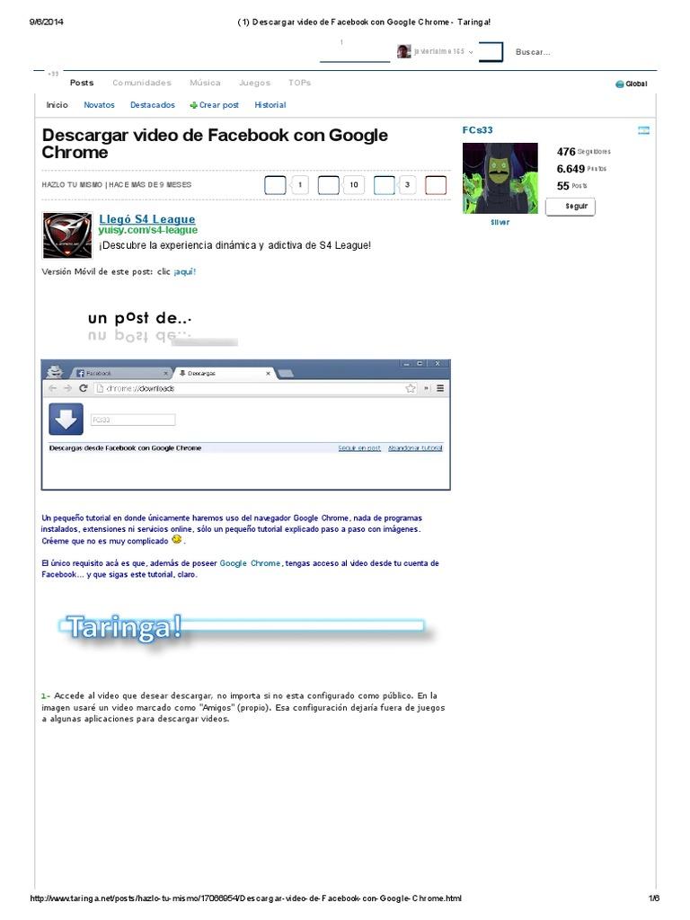 1) Descargar video de Facebook con Google Chrome - Taringa! pdf