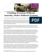 Creating Freedom Without Anarchy Order Without Tyranny