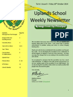 Uplands School Weekly Newsletter - Issue 9 - 10 Oct 2014