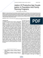 Perception Correlation of Productive Age Couple Toward Participation in Population and Family Planning Programs
