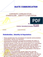 Lesson 5 - Corporate Communication in Stake Holder Management, Identity and Reputation of an Org