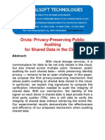IEEE 2014 JAVA CLOUD COMPUTING PROJECT Oruta Privacy-preserving Public Auditing for Shared Data in the Cloud