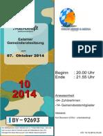 Eslarner Gemeinderatssitzungen, Mitschrift vom 07.10.2014