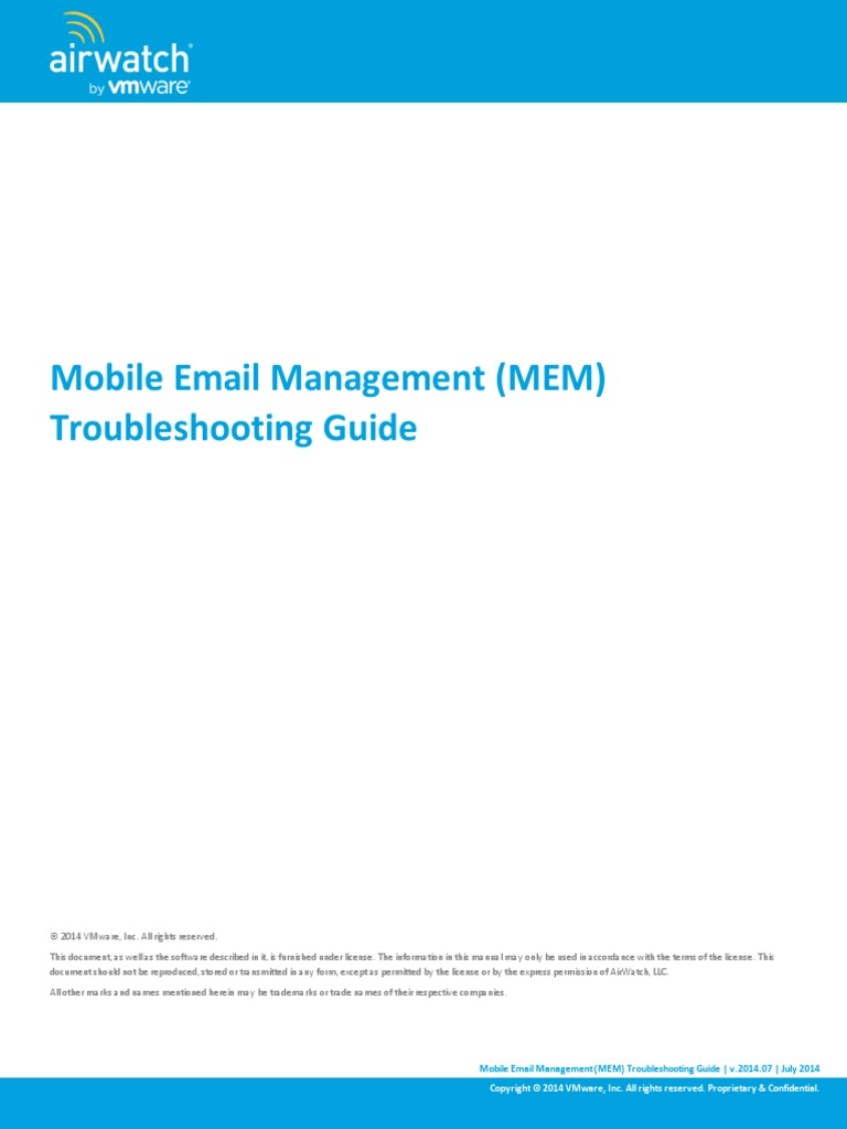 Airwatch Mem Troubleshooting Guide V72 Public Key Certificate