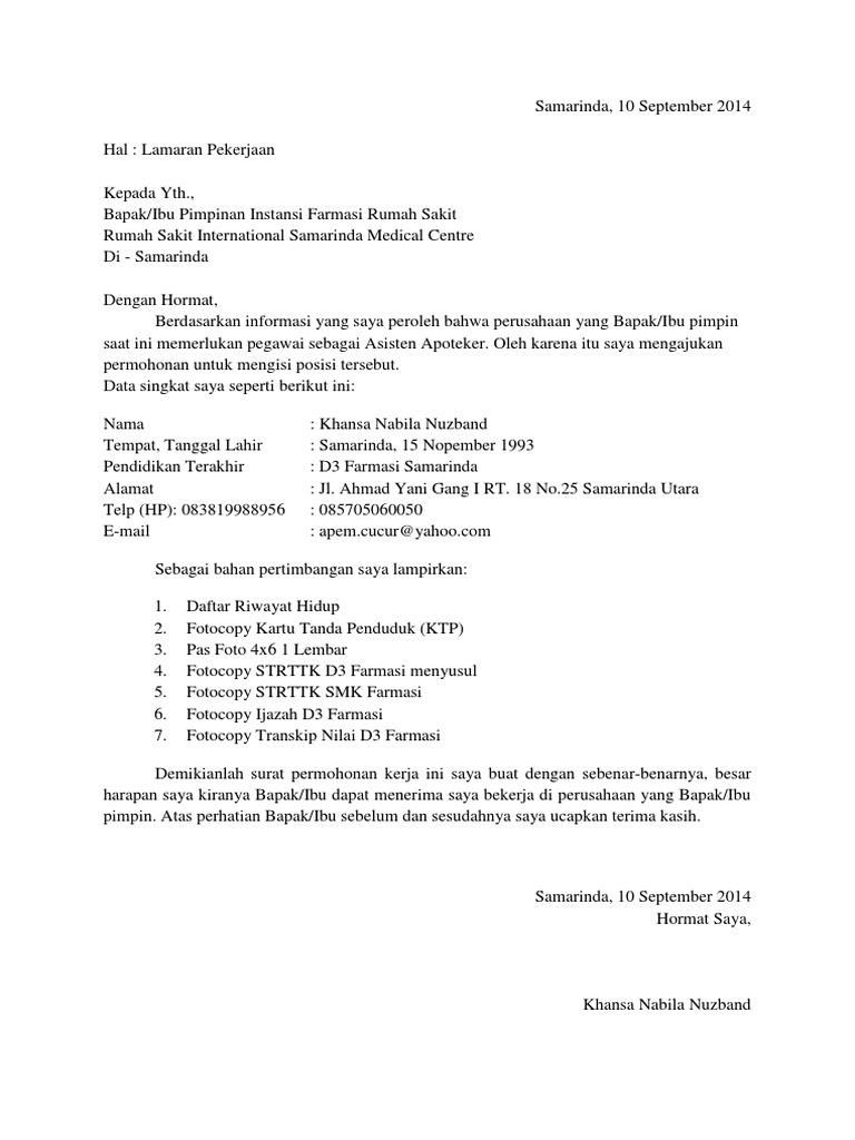 Contoh Surat Lamaran Kerja Perawat Rumah Sakit Kumpulan Surat Penting