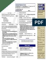 October 12, 2014 Worship Bulletin