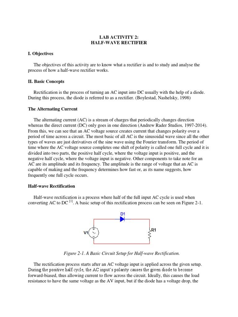 Electronics Laboratory Activity Half Wave Rectification Rectifier Halfwave Circuit Diode