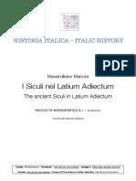 Historia Italica N.1-I Siculi Nel Latium Adiectum