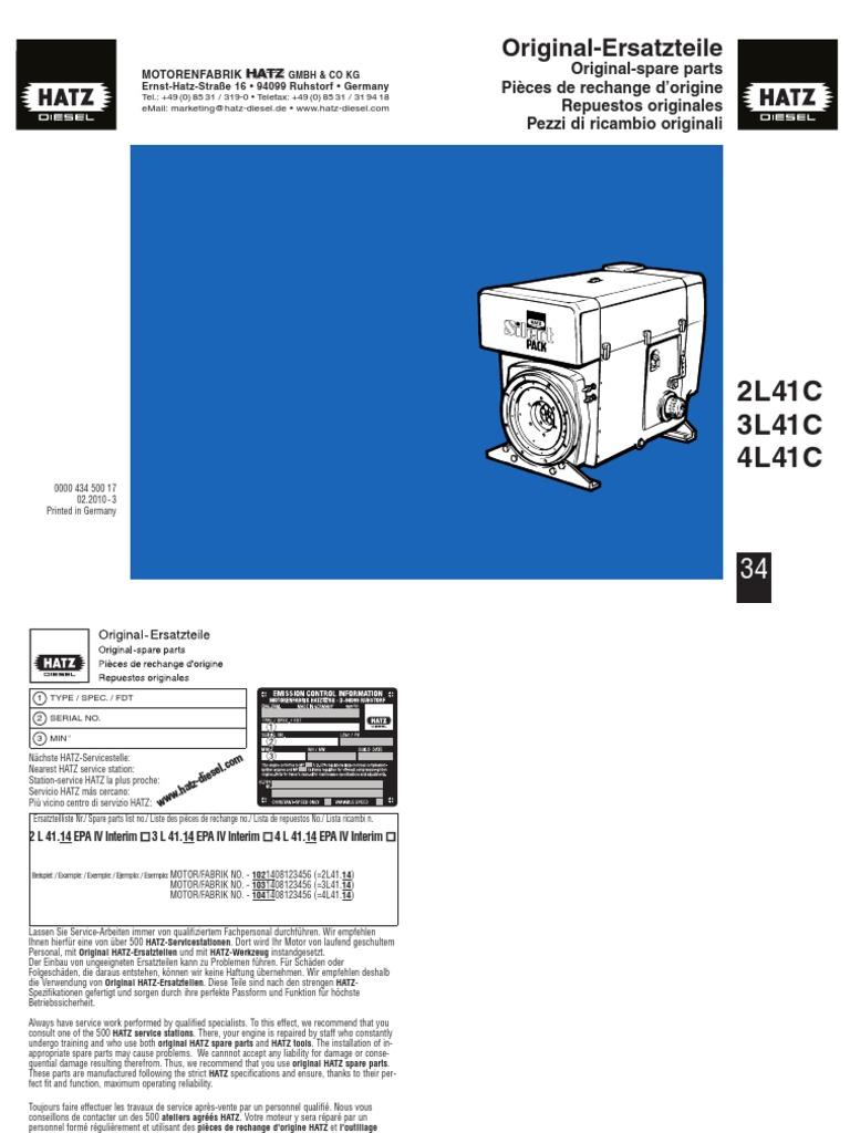 Manual Partes 2l41c 3l41c 4l41cpdf Hatz Engine Diagram