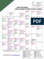 SCDNF October 2014 Schedule