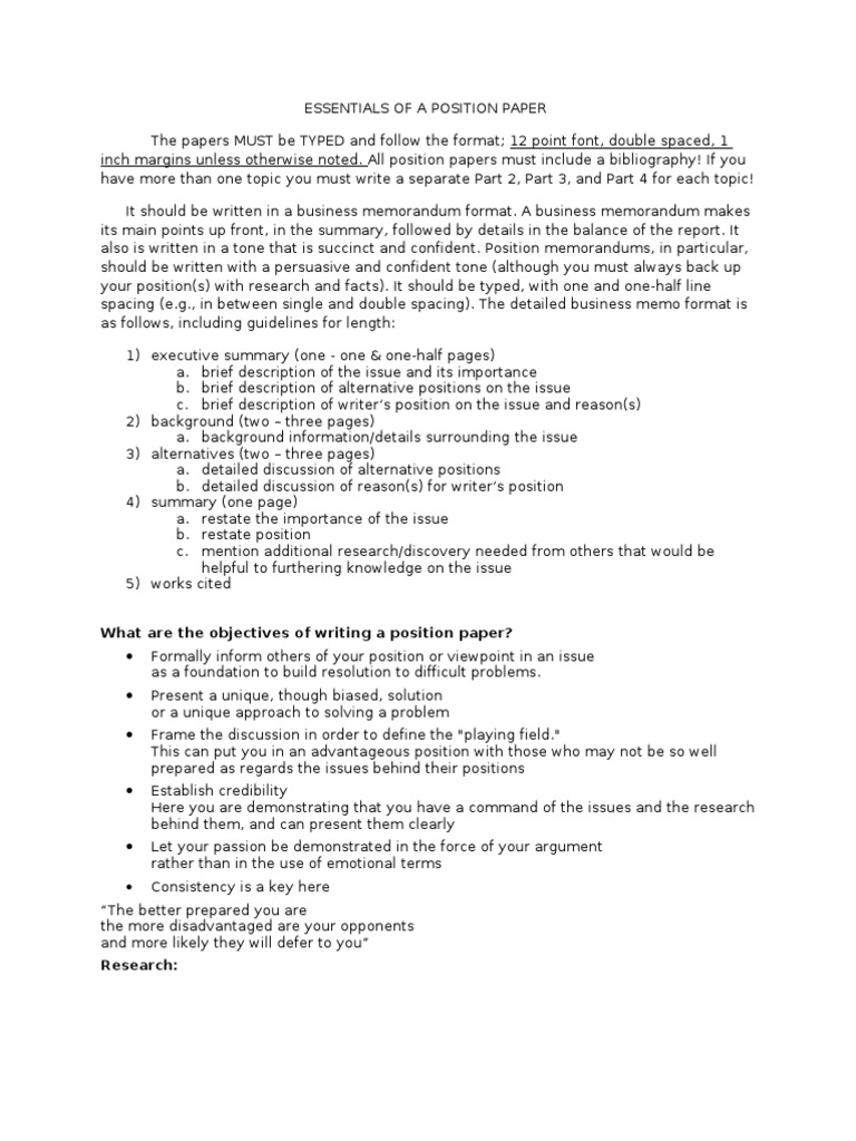 position paper format Department of the army tradoc regulation 1-11 headquarters sample position paper department of the army tradoc.