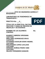 PRACTICA 4 FACTOR DE FRICCION Y CAIDA DE PRESION EN VALVULAS Y ACCESORIOS.doc