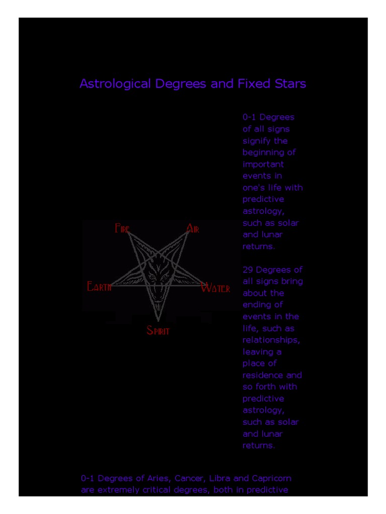 Astrological Degrees and Fixed Stars pdf | Astrological Sign