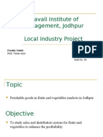 Local Industrial Project on Fruits and Vegetables Market in Jodhpur