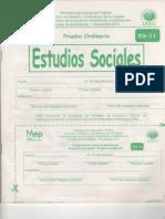 Examen Sociales Bachillerato Colegio  Noviembre 2012