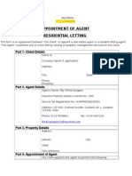Appointment of Agent Residential Letting Form