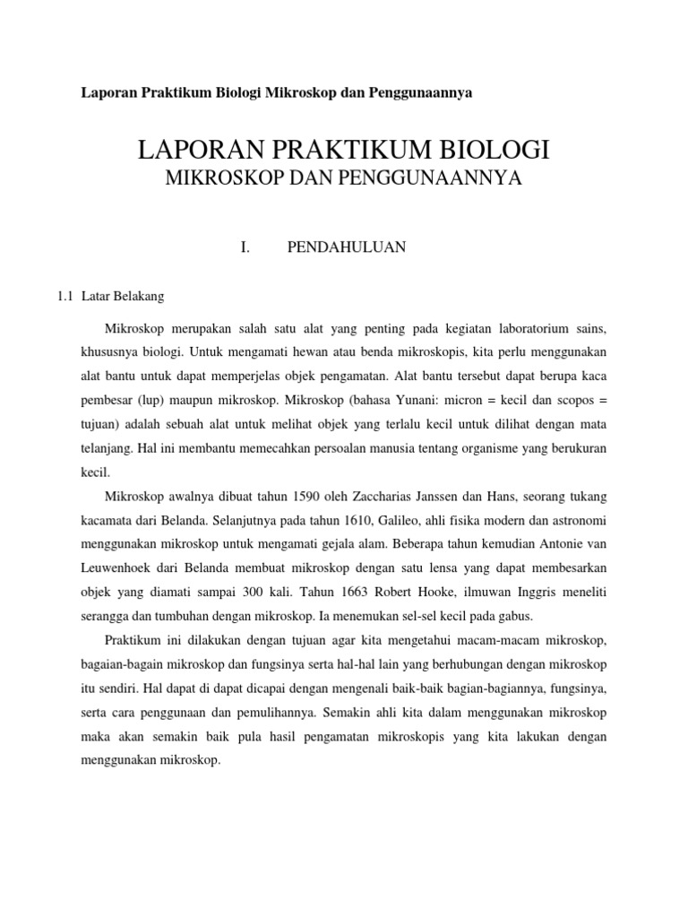 Contoh Teks Laporan Percobaan Praktikum Biologi Seputar Laporan