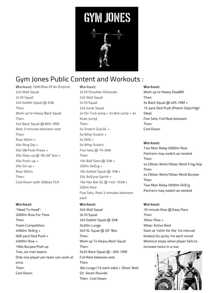 Gym Jones Public Content and Workout pdf | Management Of Obesity
