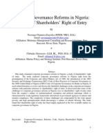 Corporate Governance Reforms in Nigeria (a Study of Shareholders' Right of Entry) 1