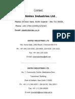 Contact Sintex Industries Ltd.,