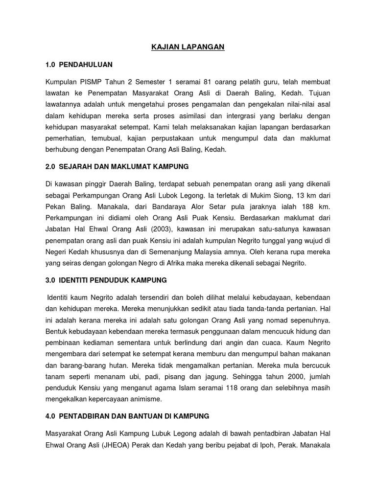 Etnik Laporan Lawatan Kampung Orang Asli Baling Kedah