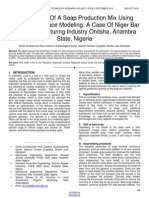 Optimization of a Soap Production Mix Using Response Surface Modeling a Case of Niger Bar Soap Manufacturing Industry Onitsha Anambra State Nigeria