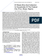 The Survey of Waste Bins and Collection Methodology in Households of the Federal Capital City Fcc Abuja Nigeria