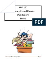 Advanced Level Physics Past Papers Index Students Copy