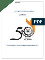 IIM Calcutta Summer Placement Report 2012