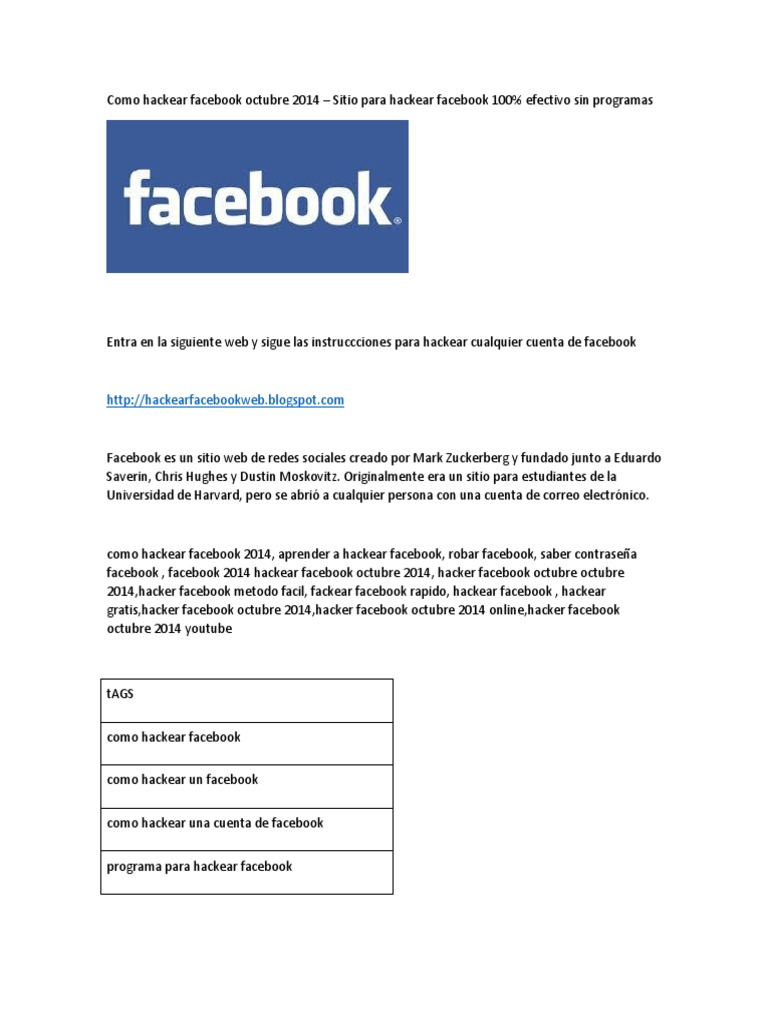 Como Hackear Facebook Octubre 2014 Facebook Servicio De Redes Sociales