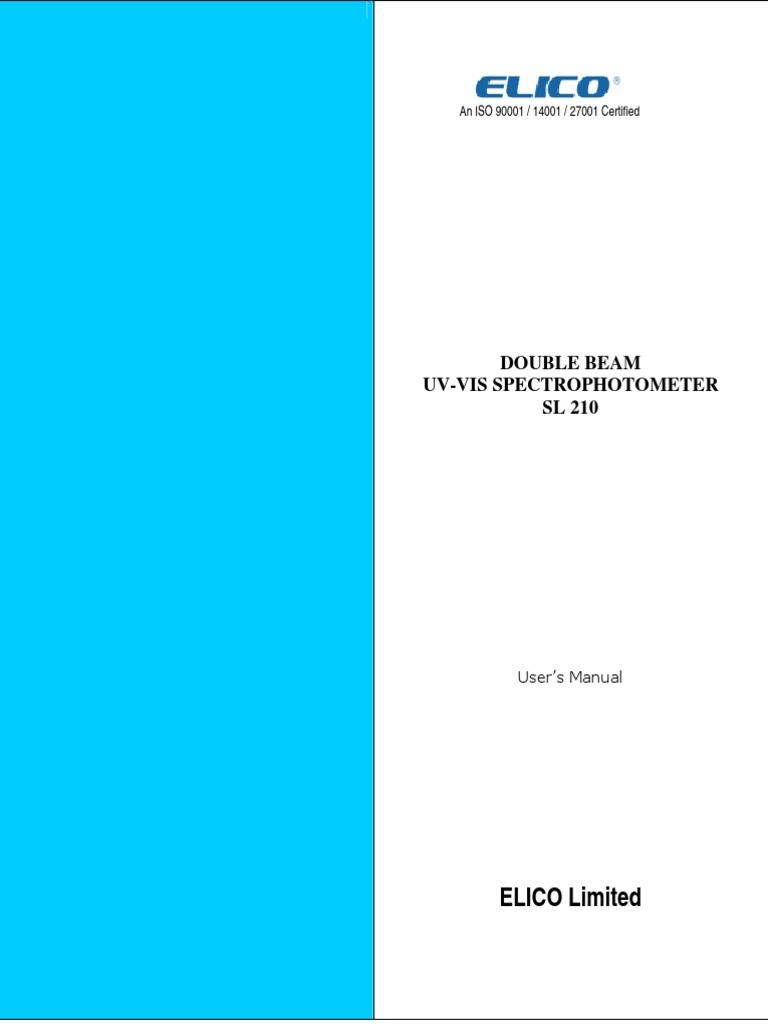 ELICO Limited: Double Beam Uv-Vis Spectrophotometer SL 210