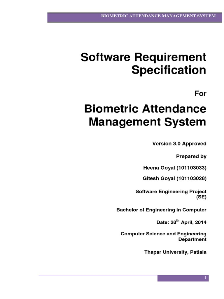 srs for online attendance maintainance system This study focuses on the development of a web-based attendance register system or formerly known as ars maintenance phase will be kept in view for future research.